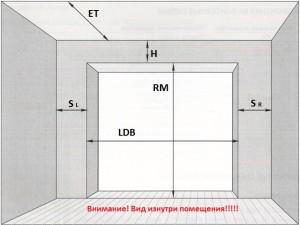 Схема замера подъемных ворот